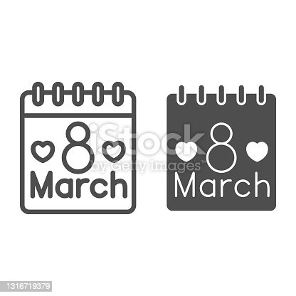 istock International Women Day calendar line and solid icon, 8 March concept, calendar day on 8th march sign on white background, March holiday organizer icon in outline style for mobile. Vector graphics. 1316719379