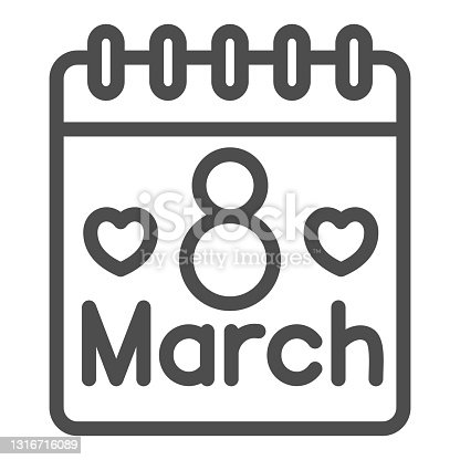 istock International Women Day calendar line icon, 8 March concept, calendar day on 8th march sign on white background, March holiday organizer icon in outline style for mobile. Vector graphics. 1316716089