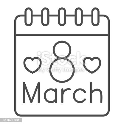 istock International Women Day calendar thin line icon, 8 March concept, calendar day on 8th march sign on white background, March holiday organizer icon in outline style for mobile. Vector graphics. 1316716681