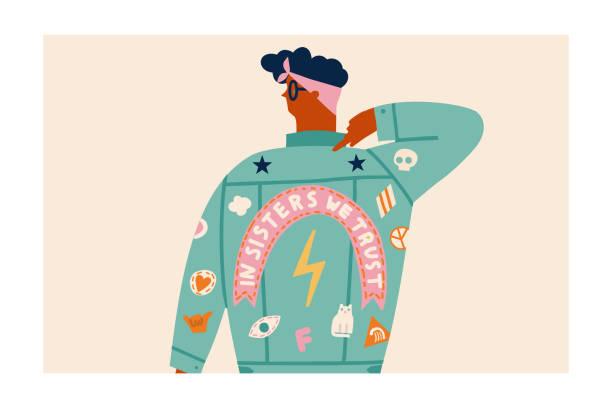 ilustraciones, imágenes clip art, dibujos animados e iconos de stock de tarjeta del día internacional de la mujer con mujer o chica en jeans - hermana