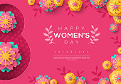 International Women's day pink banner with paper cut flowers and leaves, floral pattern. March 8. Greeting card, flyer or brochure template. Vector illustration.