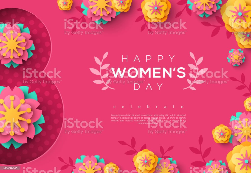 International Women day pink banner vector art illustration