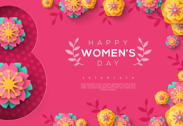 illustrations, cliparts, dessins animés et icônes de bannière rose journée internationale des femmes - mars