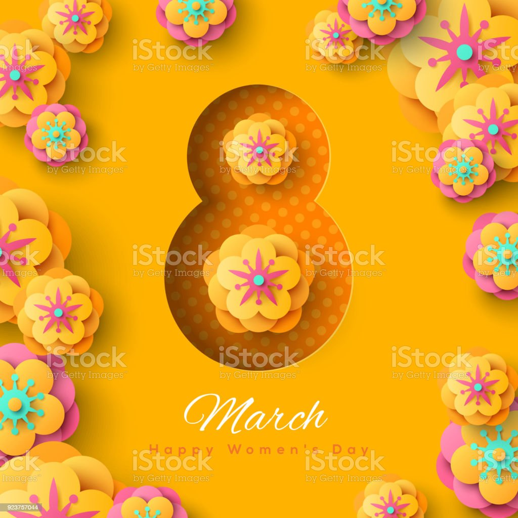 International Women day yellow background vector art illustration