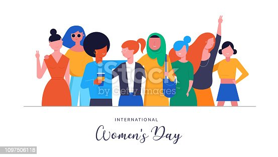 istock International Women s Day. Vector illustration, card, poster, flyer and banner. 1097506118