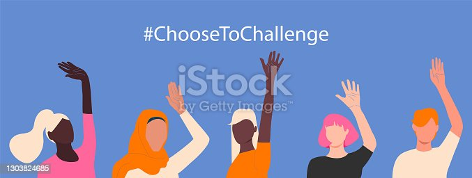 International womens day. 8th march. Choose To Challenge. Horizontal poster with different skin color womens hand up. Vector illustration in flat style for greeting card, postcard, banner.