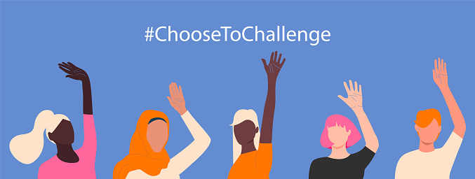 International womens day. 8th march. Choose To Challenge. Horizontal poster with different skin color womens hand up. Vector illustration in flat style for greeting card, postcard, banner. Eps 10.