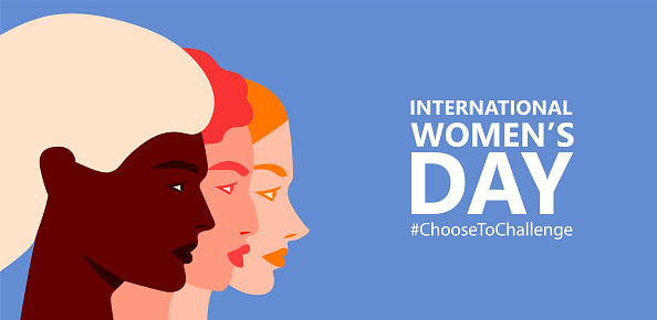 International womens day. 8th march. Horizontal poster with three female faces. Choose to Challenge campaign. Vector illustration in flat style for greeting card, postcard, web, banner. Eps 10