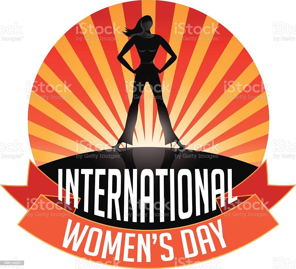 International Womens Day Burst icon vector art illustration