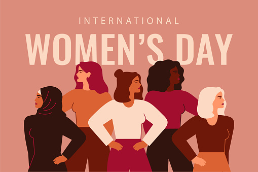 International Women's Day card with Five strong girls of different cultures and ethnicities stand together.