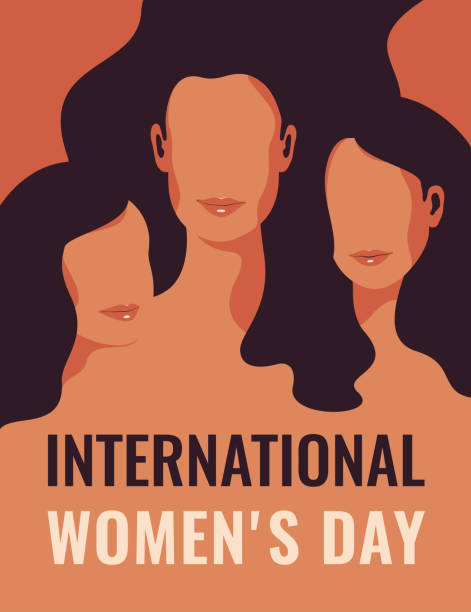 International Women's Day card with Silhouettes of three women standing together. International Women's Day card with Silhouettes of three women standing together. Women's friendship, union of feminists or sisterhood. The concept of the female's empowerment movement. abstract silhouettes stock illustrations