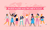 International womens day. Celebrating eight march, sisterhood community and multinational female people. Feminist woman character, 8 march girl day postcard vector flat illustration