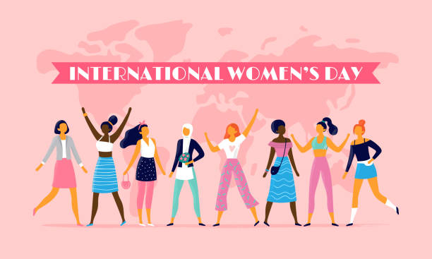 stockillustraties, clipart, cartoons en iconen met internationale womens dag. acht maart vieren, vector sisterhood gemeenschap en multinational vrouwelijke mensen vlakke afbeelding - meisjes