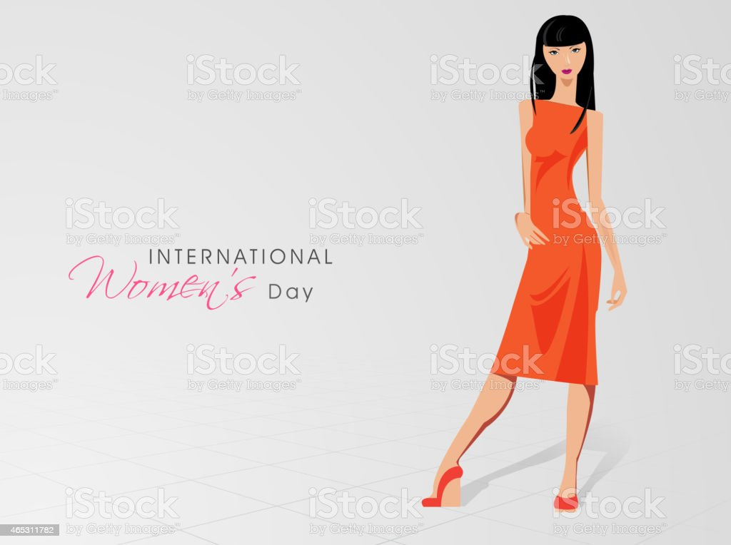 International Women's Day celebration with young girl vector art illustration