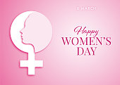 International Women's Day Design - Happy Women's Day celebrations concept - Happy Women's Day greeting card - Illustration.