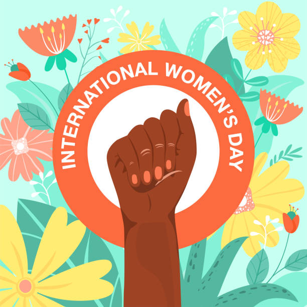 international women's day, feminism, girl power, concept. feminism symbol. fighting afro-american fist of a woman with flowers and leaves. - black power stock illustrations