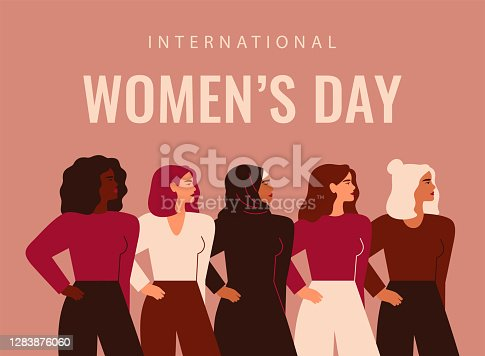 istock International Women's Day. Five strong girls of different cultures and ethnicities stand side by side. 1283876060