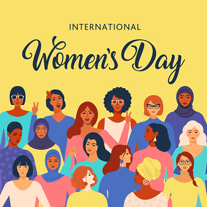 International womens day graphic in vector.