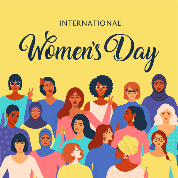 international womens day graphic in vector. - international womens day stock illustrations