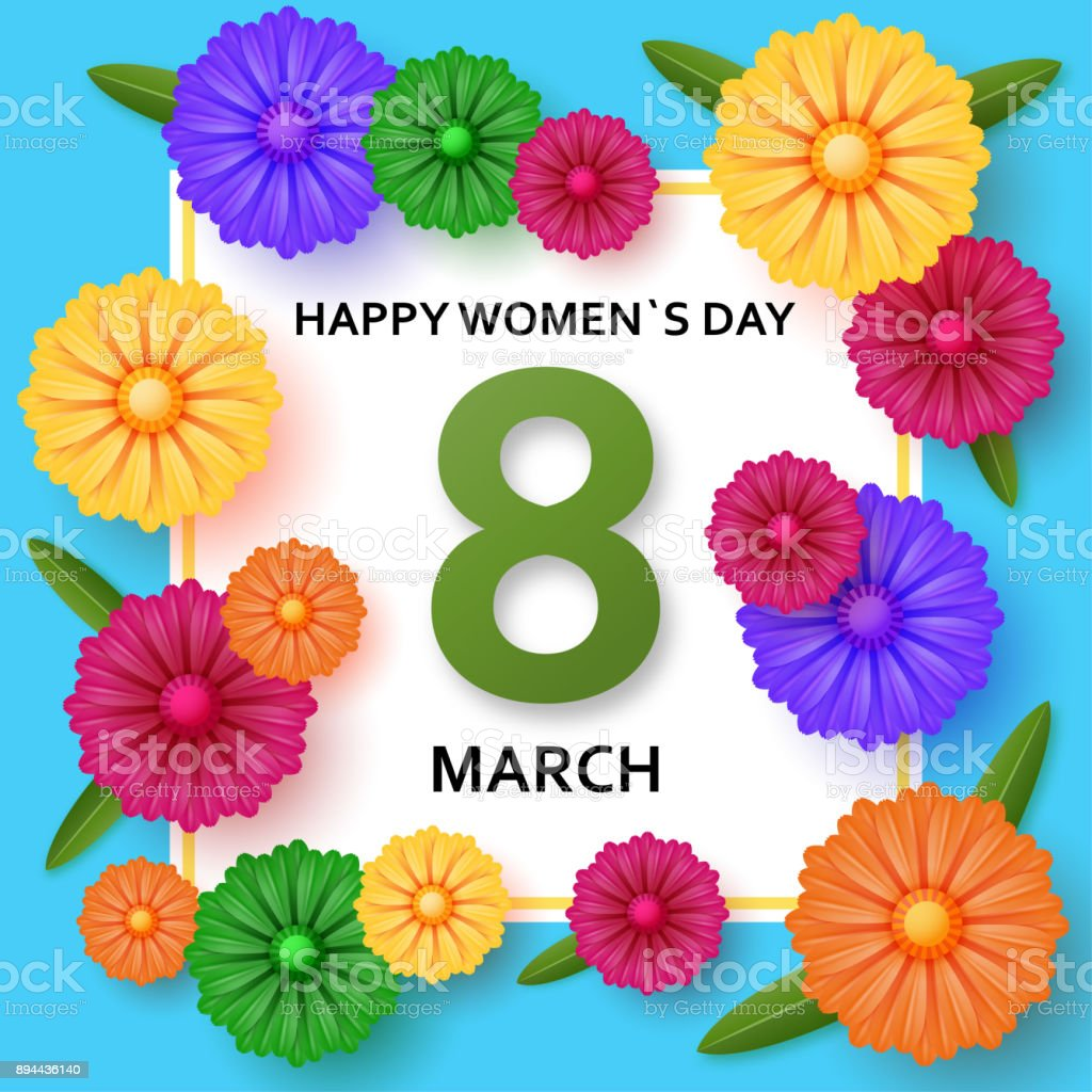 International Womens Day Greeting Card 8 March Template With Bright