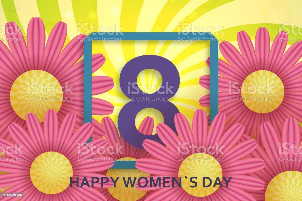 Internationalen Tag Der Frauengrußkarte 8 Märzvorlage Mit Daisy ...