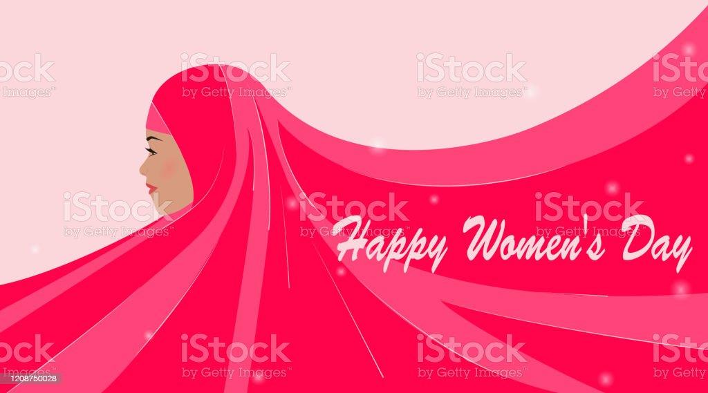 International Women's Day. Greeting card with beautiful silhouette of an arab woman. Emirati womens day. Pink hijab is developing, place for text. Advertising, poster, vector illustration. - Grafika wektorowa royalty-free (Abaja - ubranie)