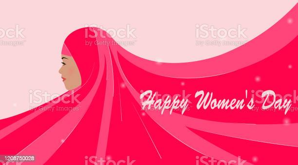 International Womens Day Greeting Card With Beautiful Silhouette Of An Arab Woman Emirati Womens Day Pink Hijab Is Developing Place For Text Advertising Poster Vector Illustration - Stockowe grafiki wektorowe i więcej obrazów Abaja - ubranie