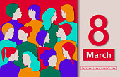 International women's day illustration. Different races women's paper cutouts. 8 of March card. Vector in eps10 format