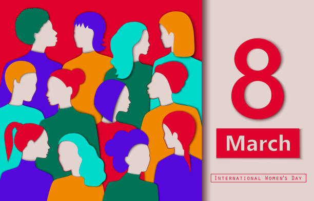 International women's day illustration. Different races women's paper cutouts. 8 of March card. International women's day illustration. Different races women's paper cutouts. 8 of March card. Vector in eps10 format abstract silhouettes stock illustrations
