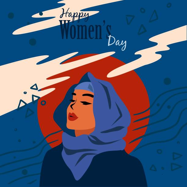 國際婦女節,歡樂女性問候背景的插圖 - emirati woman 幅插畫檔、美工圖案、卡通及圖標