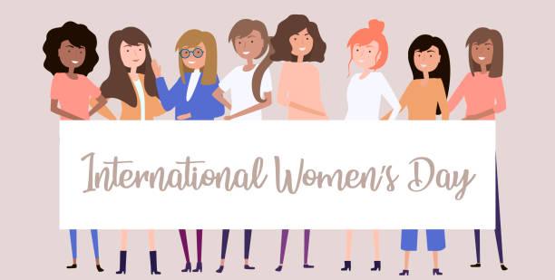 國際婦女日。插圖與不同的女孩。可編輯的向量插圖 - 國際比賽 幅插畫檔、美工圖案、卡通及圖標