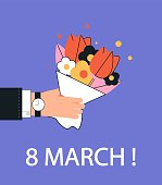 International women's day, March 8. A man's hand holds a bouquet for a woman. Suitable for banners, greeting card templates or postcards. Trendy, modern vector illustration in a flat style.