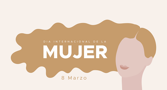 International Women's Day. March 8. Spanish. Dia Internacional de la Mujer. 8 marzo. Woman portrait with long blonde hair. Concept of human rights, equality. Vector illustration, flat design