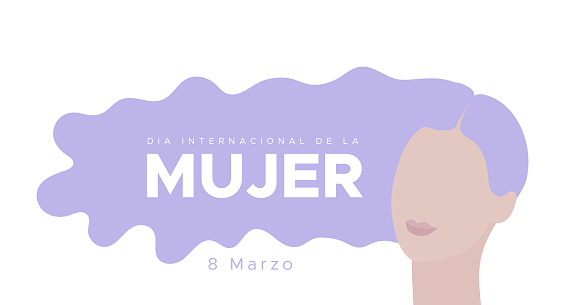 International Women's Day. March 8. Spanish. Dia Internacional de la Mujer. 8 marzo. Woman portrait with long violet hair. Concept of human rights, equality. Vector illustration, flat design