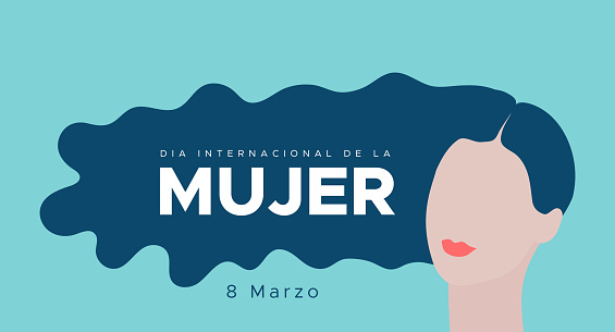International Women's Day. March 8. Spanish. Dia Internacional de la Mujer. 8 marzo. Woman portrait with long blue hair. Concept of human rights, equality. Vector illustration, flat design