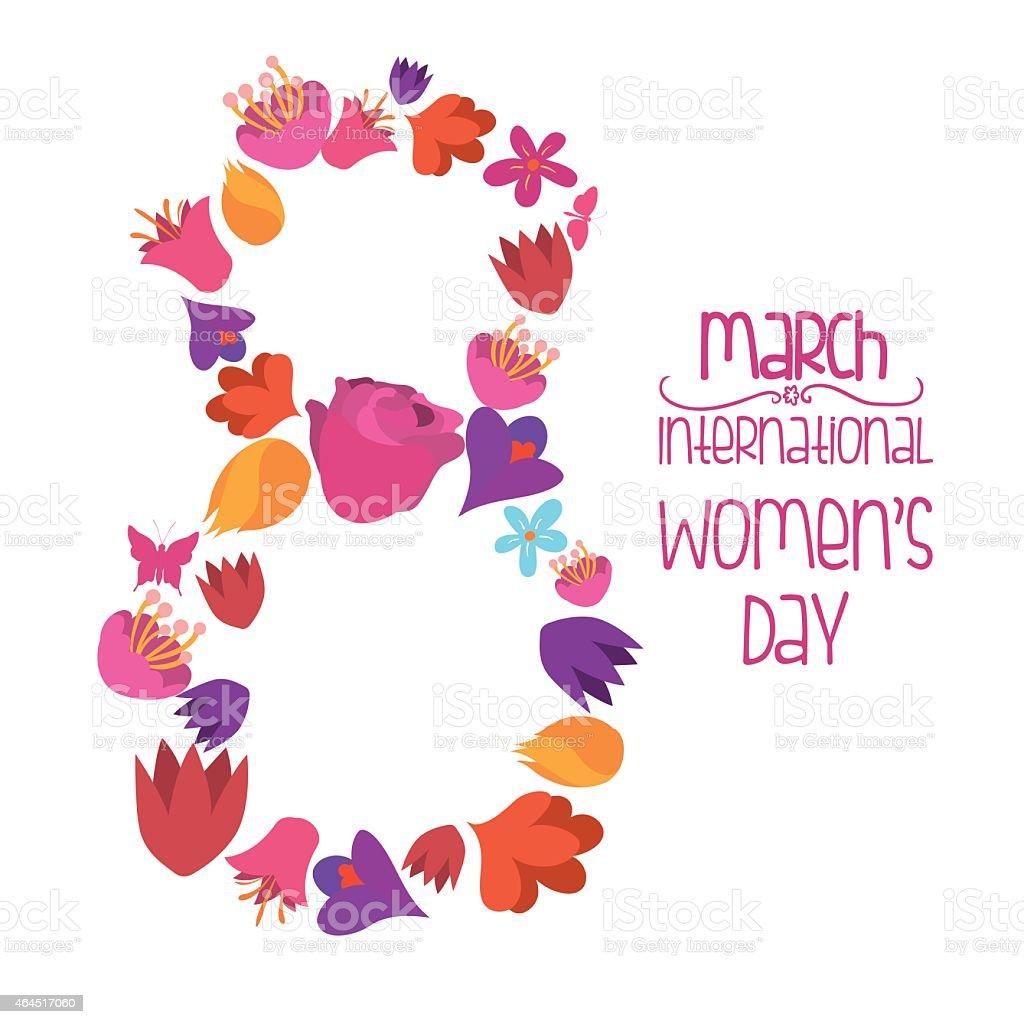 International Women's Day on March 8 in flower design vector art illustration