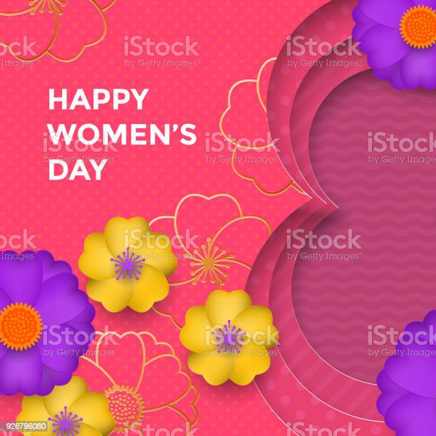 International womens day paper cut illustration with gold frame for vector id926796080?b=1&k=6&m=926796080&s=612x612&h=sgvooq345xmcffjshio8tvifymklciyeyp2zyfmvzbo=