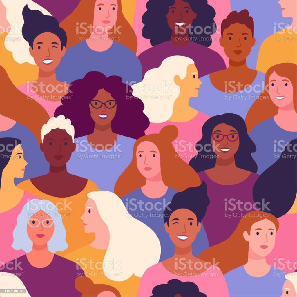 Internationale Vrouwendag patroon. - Royalty-free Achtergrond - Thema vectorkunst