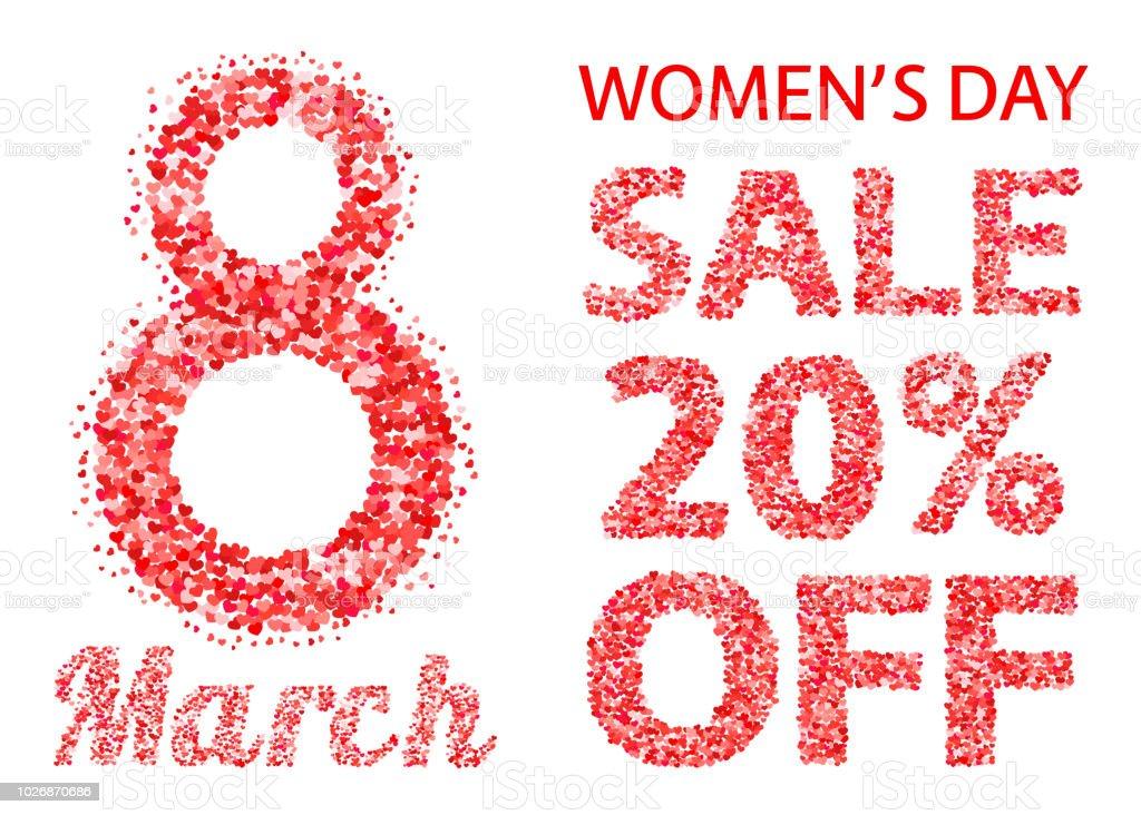 国際女性の日販売バナー文字と飛び散るハート紙吹雪の数字3 月 8 日は