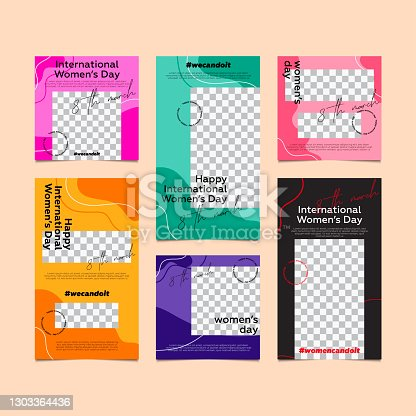 International women's day - Set of editable banner social media post and story template.