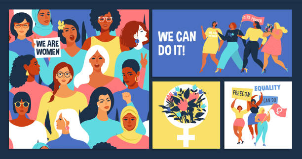 International Women's Day set. vector art illustration