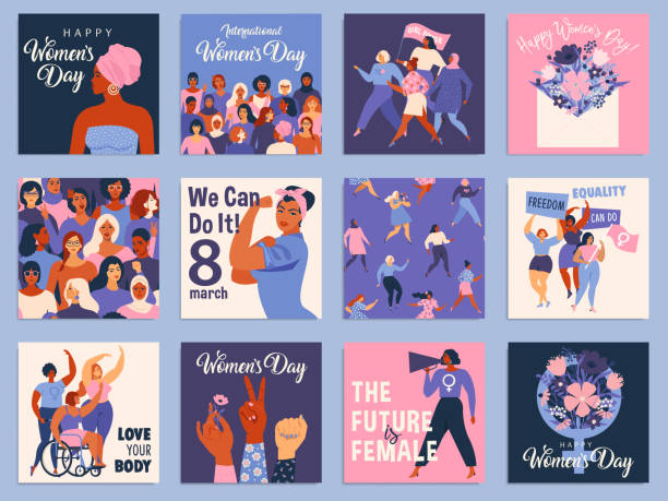 illustrazioni stock, clip art, cartoni animati e icone di tendenza di international women's day set. vector templates for card, poster, flyer and other users. - donna