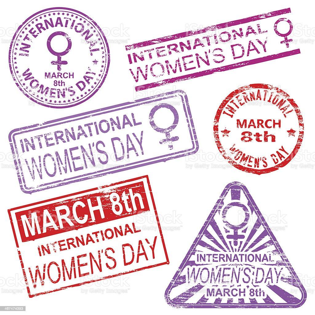 International Women's Day Stamps vector art illustration