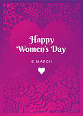 International Women's Day template for cards, advertising, banners, leaflets and flyers. - Illustration