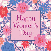 International Women's Day Template with Flowers Frame.