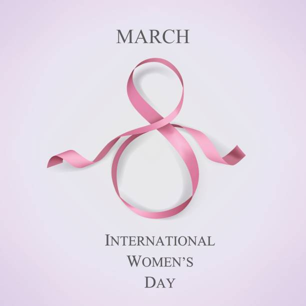 international women's day template with pink ribbon. vector illustration. - international womens day stock illustrations, clip art, cartoons, & icons