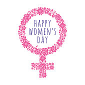 International Women's Day template with pink symbol. Vector illustration. - Illustration