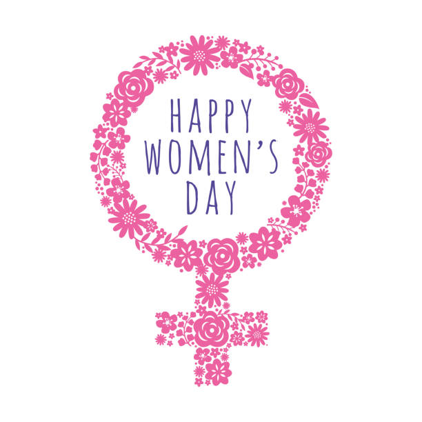 international women's day template with pink symbol. vector illustration. - venus stock illustrations
