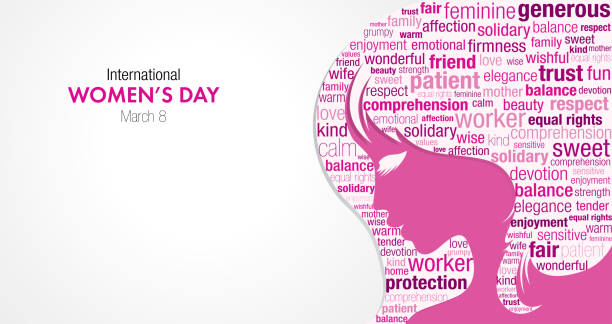 international women's day title with a silhouette of a woman's face and a cloud of words inside the silhouette in pink and violet colors - alejomiranda stock illustrations