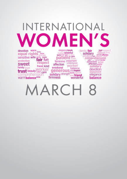 international women's day title with a word cloud forming the word day in pink and violet colors - alejomiranda stock illustrations